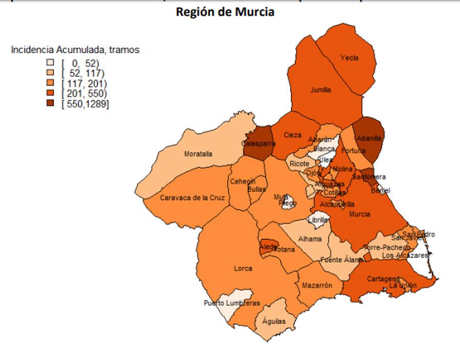 incidencia del coronavirius por municipios en la Región de Murcia. activos