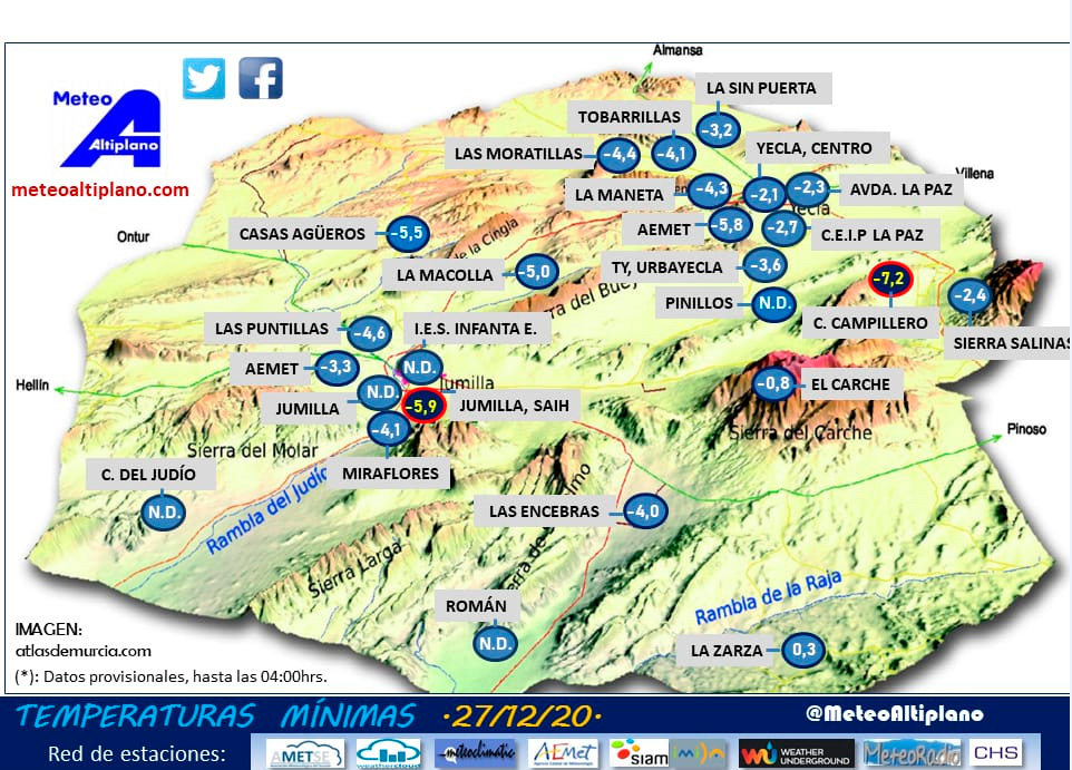 mapa de las heladas